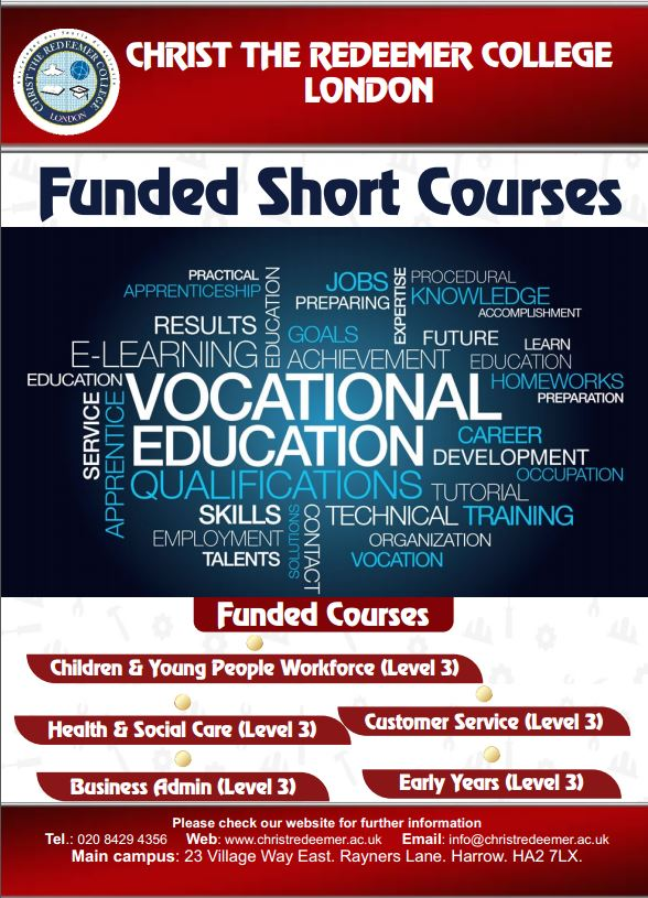 Advert for funded vocational courses